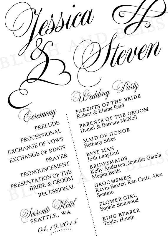 SALE  Custom Printable Wedding Program Digital by BlushAndBliss, $20.00