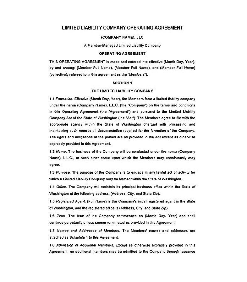 Operating Agreement Llc   Llc Operating Agreement Template