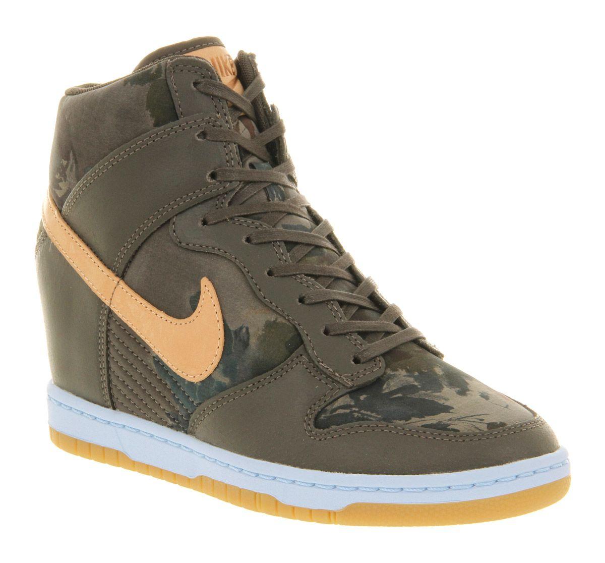 Womens Nike Dunk Sky Hi Liberty Camo Green Floral Trainers Shoes