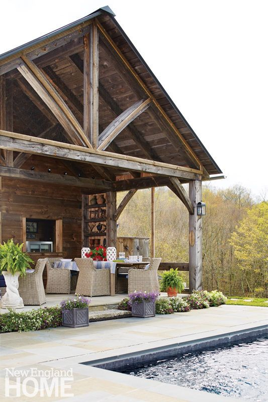 A rustic post and beam pool house architectural and for Small pool house with bathroom