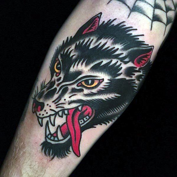 Traditional red tongued hound tattoo mens forearms for Wolf tattoo traditional