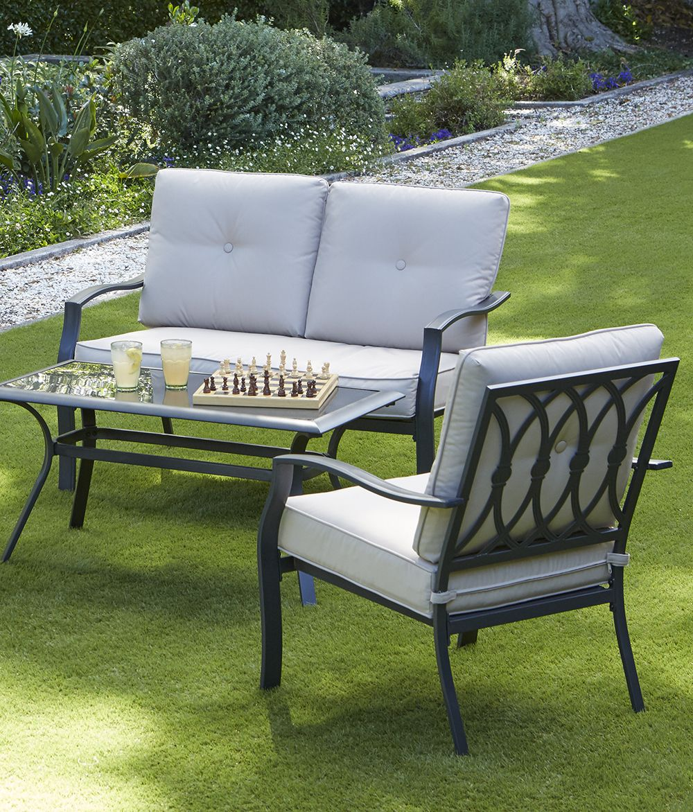 Classic and timeless the saltaire collection of garden furniture has powder coated steel frames