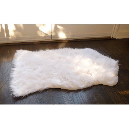 Home Dynamix Faux Sheepskin Fur Rug White Walmart Com Faux