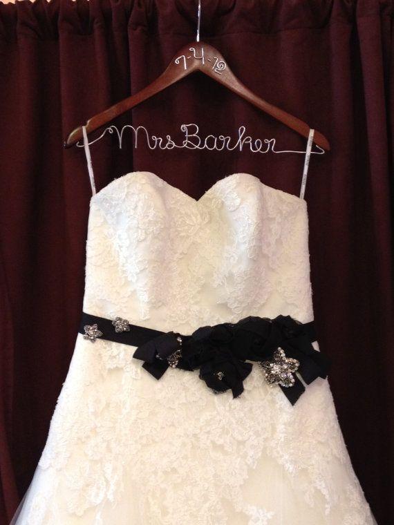 Dress Hanger, Bride hanger, Personalized Hanger, Wedding hanger, Wedding Shower Gift, Mrs. hanger, Weddign Dress. $24.50, via Etsy.