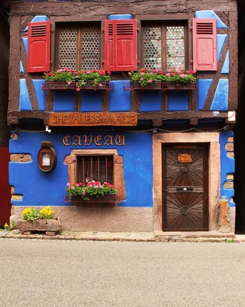 Travel Photography of Blue Home in Niedermorschwihr France 11x14 Print