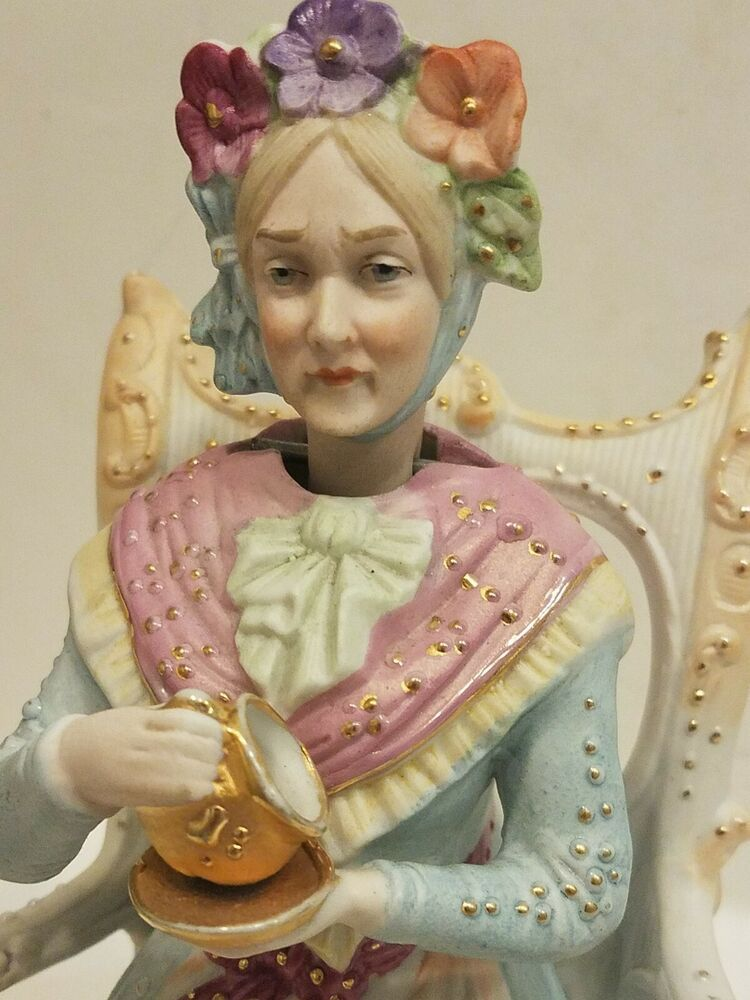 Antique German Bisque Porcelain Nodder Nodding Lady Tea Thuringian Conta Boehme Bisque Porcelain Porcelain Figurines Antiques