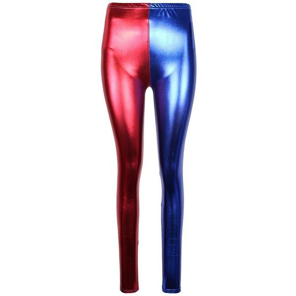 Womens Squad Party Costume Leggings  Red Blue Ladies Halloween Pants