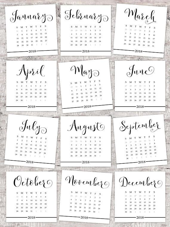 calendar 2018 printable desk calendar black and white