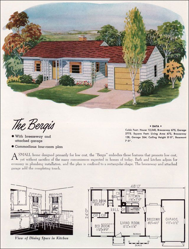 1952 national plan service the bergis 672 sq ft small and prefab houses pinterest tiny Mid century modern home plans