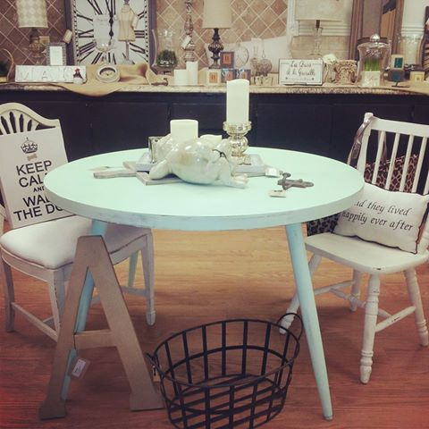 Mint Green Painted Table With White Chippy Chairs Painted Table