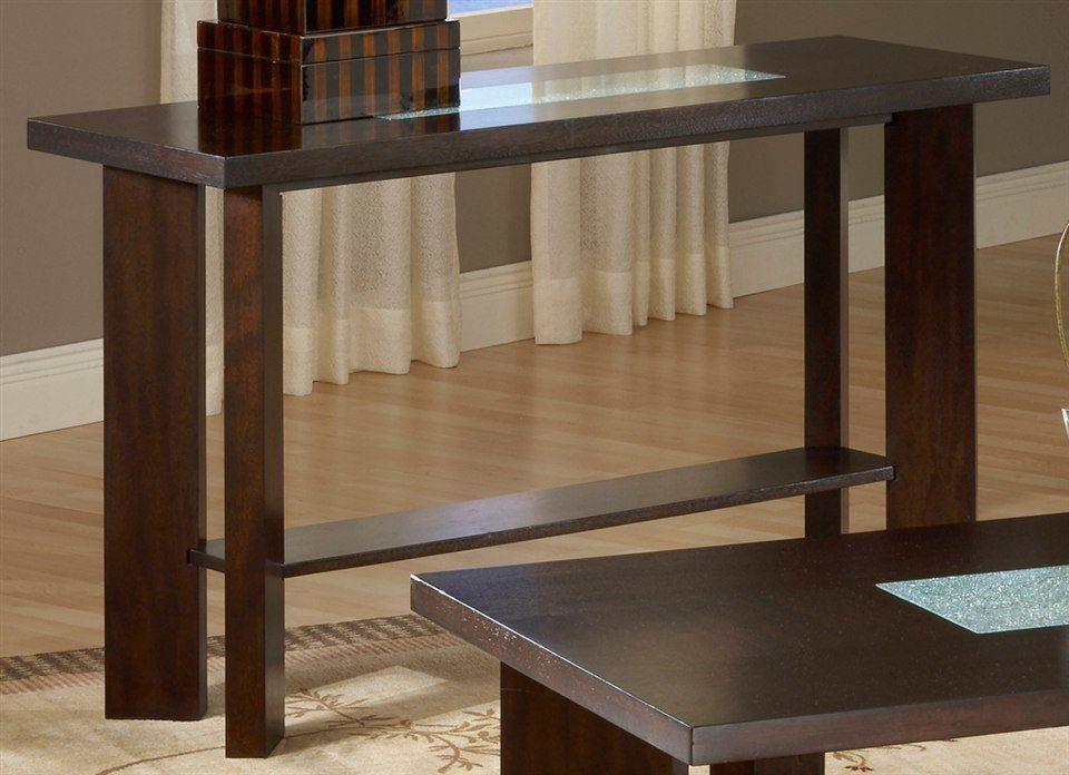 Delano Sofa Table U0026 Cracked Glass Insets In Espresso? 52 X 18 X 30.