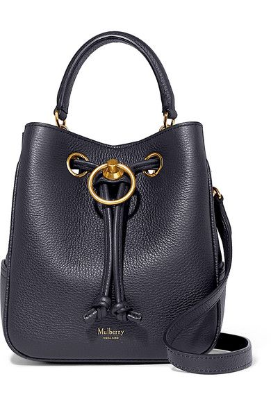6c8cc95fa2 Mulberry - Hampstead Small Textured-leather Bucket Bag - Navy in ...