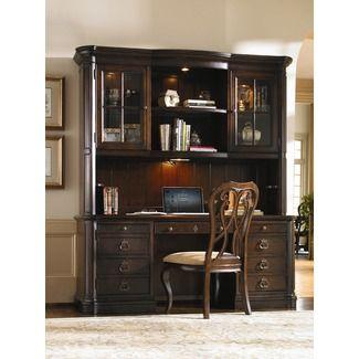 Universal Furniture Contessa Executive Credenza and Hutch in Distressed Old World Cherry