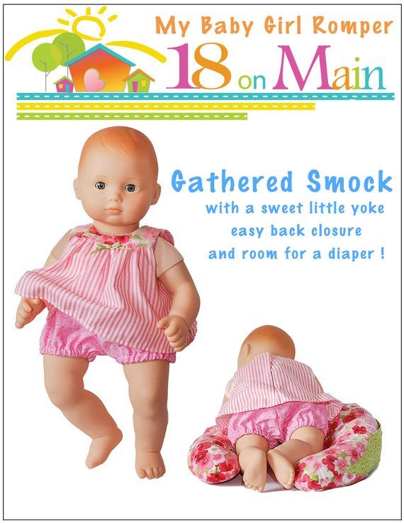 3d319836771 Pixie Faire 18 On Main My Baby Girl Romper Doll Clothes Pattern for 15 inch  Bitty Baby Dolls - PDF