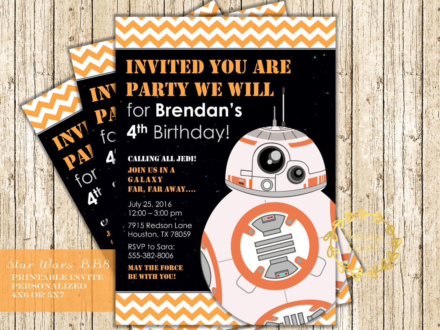 Bb8 Invitation Star Wars Party Invitation Digital Printable Birthday