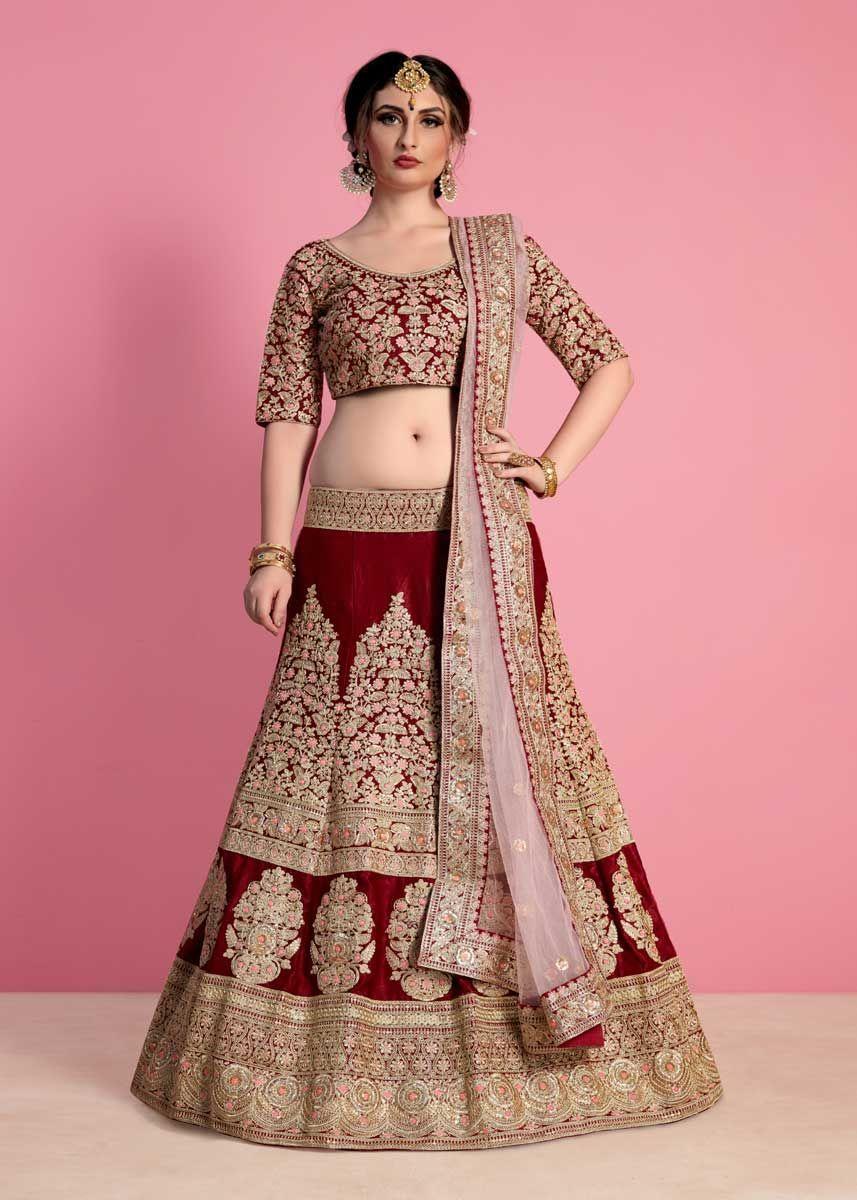 ab4aa3e6849 Ravishing Maroon Color Velvet Silk Embroidered Wedding Wear Lehenga Choli
