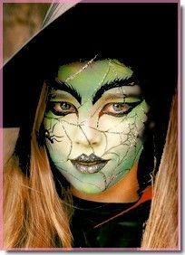 Green Witch Face Painting Idea With Spider Web