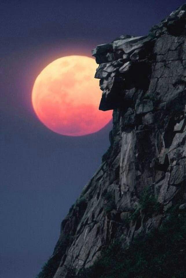 Nh S Old Man In The Mountain Por Do Sol Bela Lua Natureza