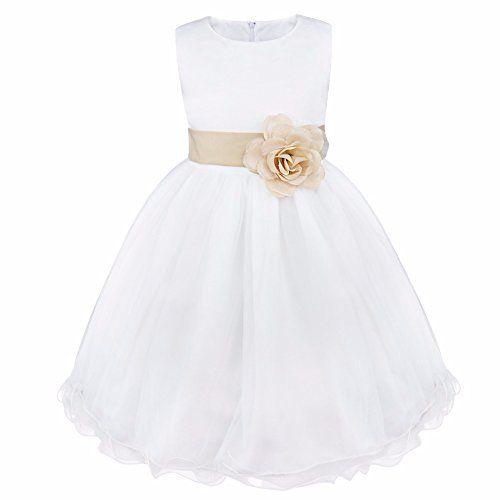 8a8a66dbe iEFiEL Vestido Blanco de Princesa Fiestas Boda para Niñas Vestidos  Elegantes de Noche Beige Oscuro 6 Años