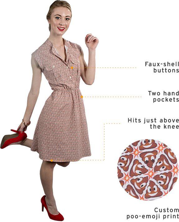 betabrand women's poo emoji dress