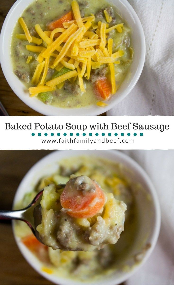 Baked Potato Soup with Ground Beef Sausage - a hearty soup the whole family will love. #groundbeef #beefrecipe #comfortfood