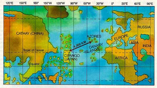 Map showing columbuss view of distance between the azores and map showing columbuss view of distance between the azores and japan gumiabroncs Choice Image