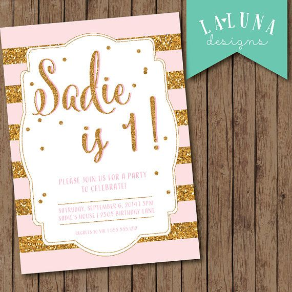 Pink and gold birthday invitation pink and gold first birthday gold pink stripe birthday invitation gold glitter invitation girly birthday invite glitter birthday invitation filmwisefo