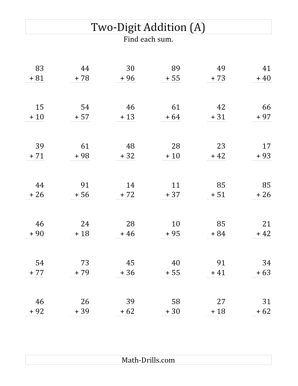 5 Free Math Worksheets First Grade 1 Addition Adding 2 Digit Plus 1 Digit No Regrouping Two D Addition Worksheets Math Fact Worksheets Free Math Worksheets [ 1584 x 1224 Pixel ]