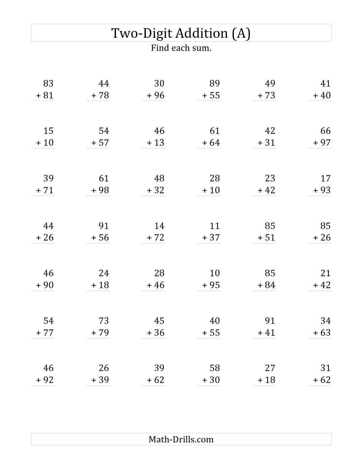 5 Free Math Worksheets First Grade 1 Addition Adding 2 Digit Plus