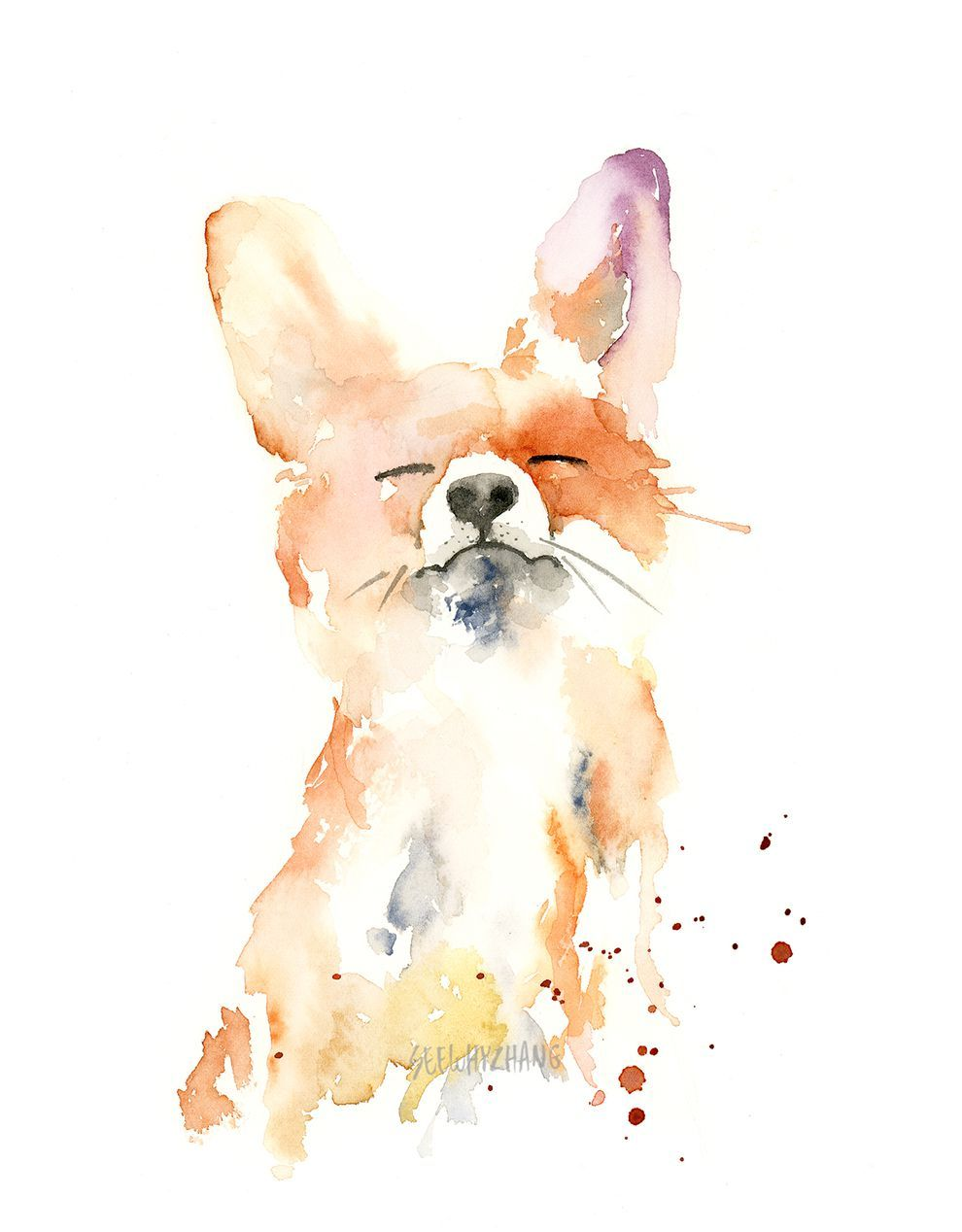 So Cute Bunny Watercolor Watercolor Art Art