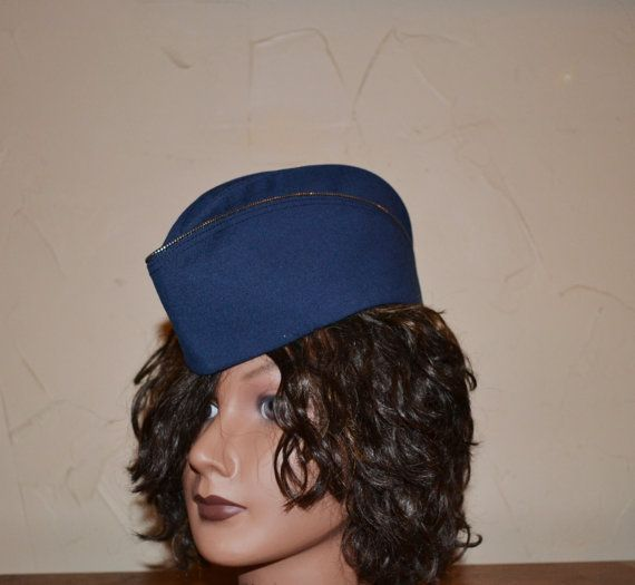 Vintage Garrison Hat Blue Military Hat Pinup by founditinatlanta ... 9d59f3ea052
