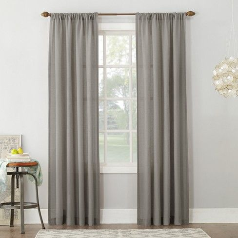 54 X84 Linen Blend Textured Sheer Rod Pocket Window Curtain Panel