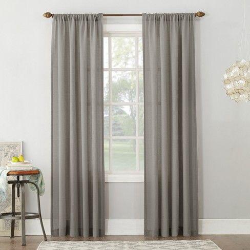 54 X84 Linen Blend Textured Sheer Rod Pocket Window Curtain Panel