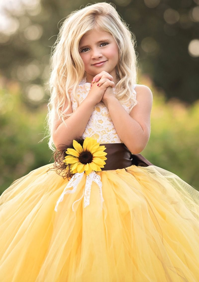 6e8cd7379 Sunflower Flower Girl Dress Wedding Inspiration Fall 2016 See more ...
