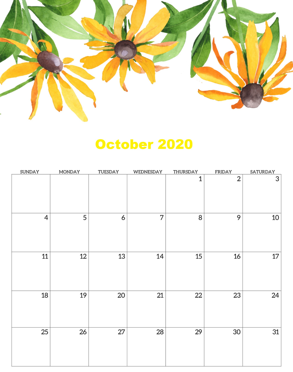 Free Printable October 2020 Calendar Cute 2020 October 2020 In 2020 Printable Calendar Template Calendar Design Template Calendar Template