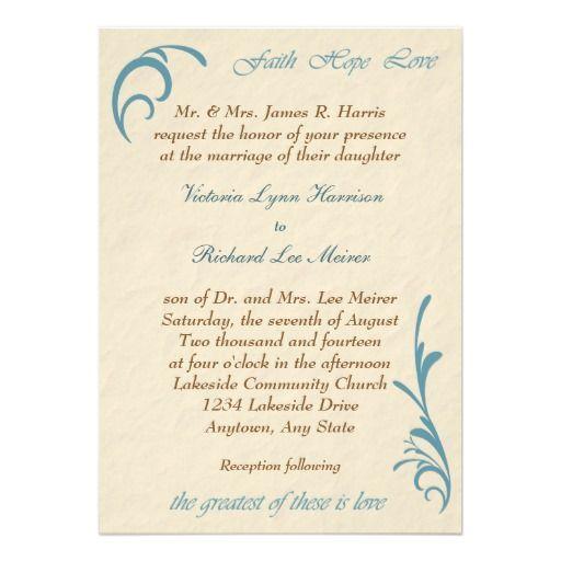Greatest Love Peach Teal Wedding Invitation