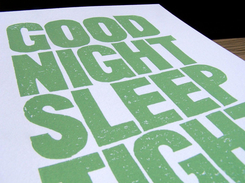 PRINT - Good Night Sleep Tight  LINOCUT mint green typography poster 8x10. $22.00, via Etsy.