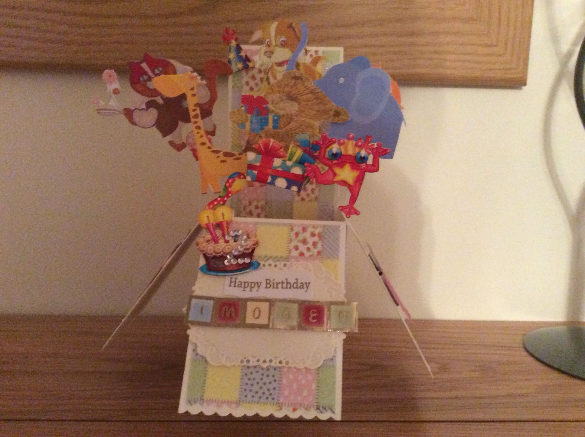 Box card with animals for friend child birthday