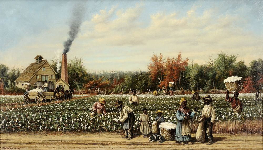 "William Aiken Walker - Lot 201 of September 2012 Auction -   (Charleston, South Carolina, 1838-1921) Cotton Plantation Scene, 1884, workers in field with distant cotton gin, signed lower left ""WA Walker 1884"", oil on canvas, 14-1/4 x 24 in. - Estimate $60,000 to $80,000"