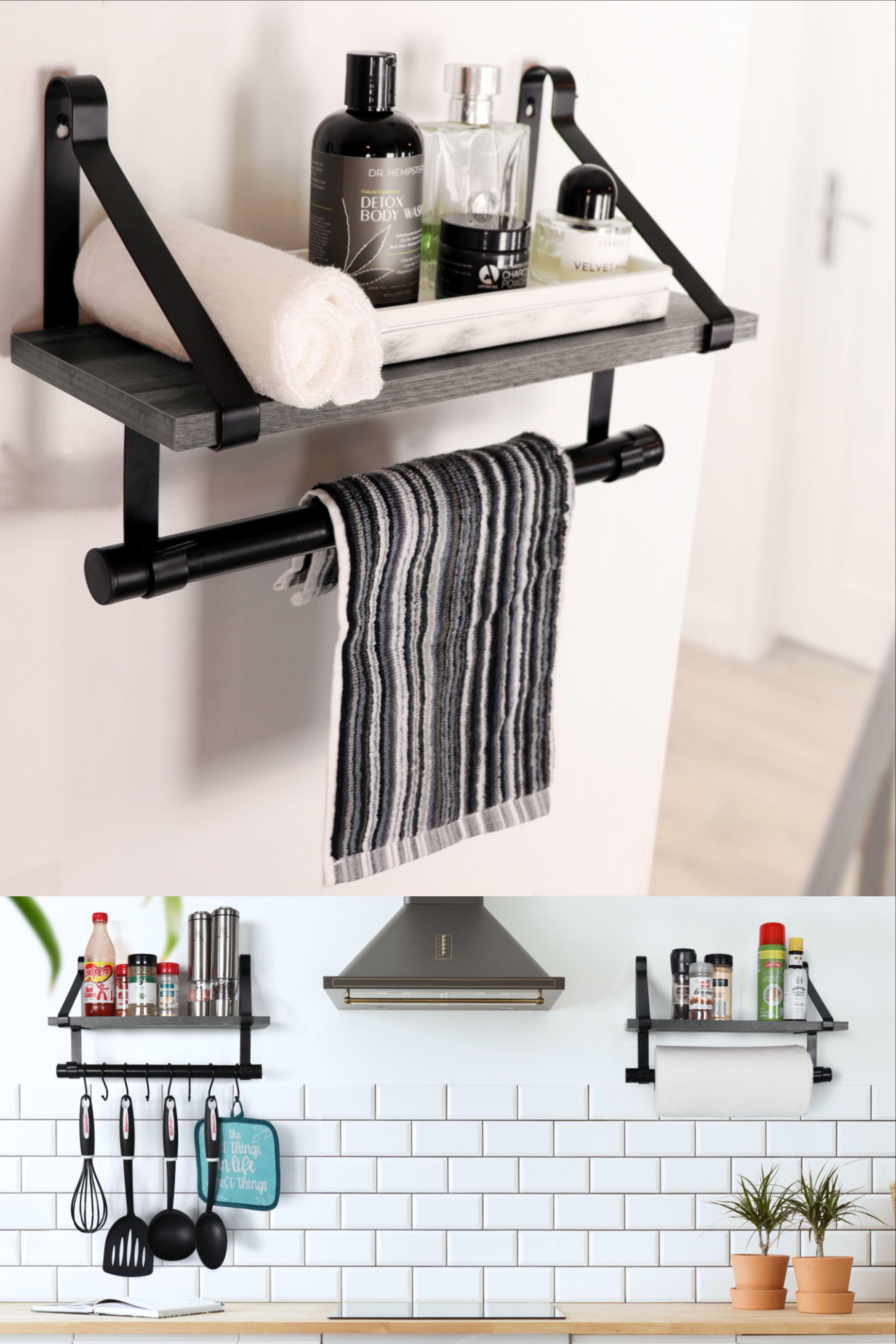 Wall Mounted Floating Shelf With Towel Bar Removable Hooks Grey Wall Storage Shelves Floating Shelves Floating Wall Shelves