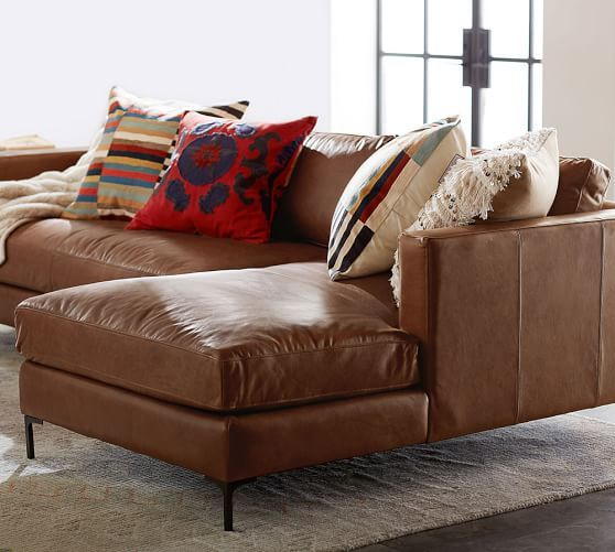 Jake Leather Sofa With Chaise Sectional Room Furniture Design Furniture Design Living Room Brown Living Room