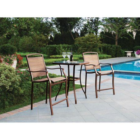 Mainstays Sand Dune High Outdoor Bistro Set Seats 2 I Want Really This For The Balcony