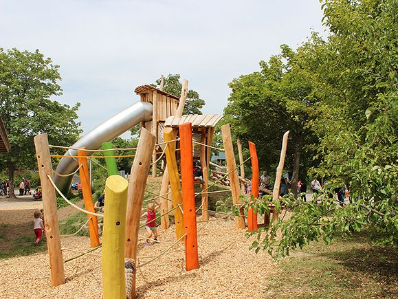 Climbing Rope And Logs With A Tall Little Fort And Big Slide