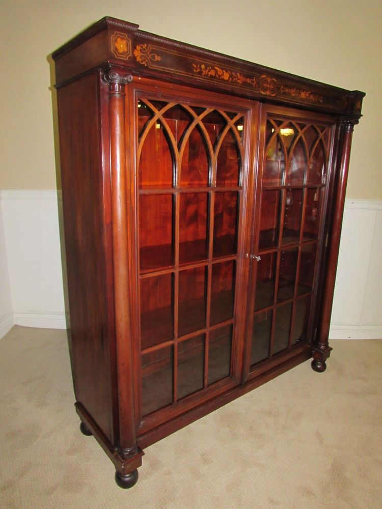 Antique Bookcase Cabinet Locking Glass Doors Inlaid Mahogany