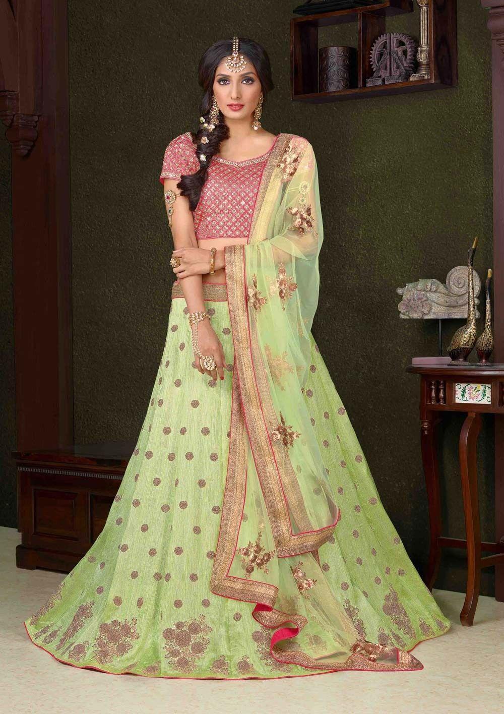 Clothing, Shoes & Accessories Provided Green Bollywood Indian Partywear Lehenga Lengha Choli Pakistani Wedding Sari Reasonable Price Other Women's Clothing