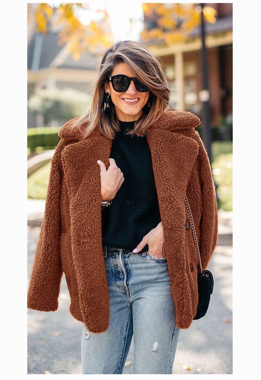 Women's Faux Fur Shaggy Teddy Jacket Warm Fluffy Fleece Ladies Fashion Formal Co