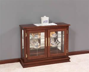 Amish Small Console Curio Cabinet Display Case Curio Cabinet Furniture Cabinet Small cabinet with glass doors