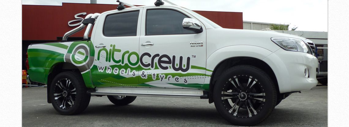 Great design!  This partial truck wrap looks awesome.