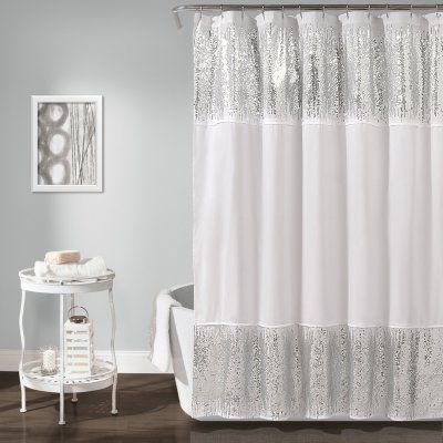 Lush Decor Shimmer Sequins Shower Curtain 16t001717 Sequin Shower Curtain White Shower Curtain Curtains