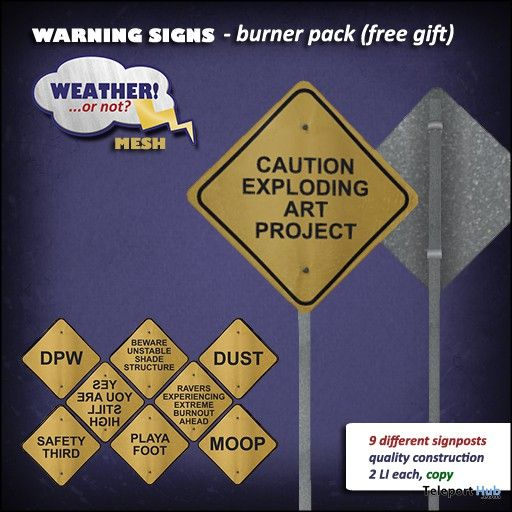 Warning Signs Burner Pack by Weather! or not